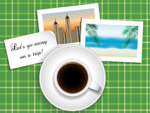Cup of coffee with a note `lets go away on a trip` Royalty Free Stock Photo