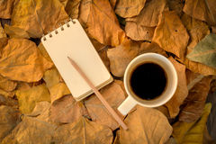 A cup of coffee and notebook diary Royalty Free Stock Images