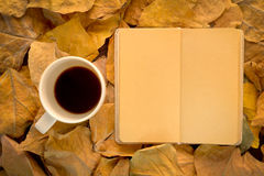 Cup of coffee and notebook. On dry leaves vintage color tone Stock Image