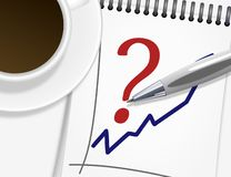 Cup of coffee, notepad and silver pen Stock Photography