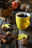 Cup of coffee, nuts and pine cones Stock Images