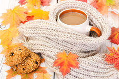 Cup of coffee and oatmeal cookies with autumn maple leaves Royalty Free Stock Photo