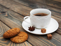 Cup of coffee and oatmeal cookies Royalty Free Stock Photography