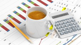 Cup of coffee with office paperwork Stock Image