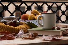 Cup of coffee old book glasses and autumn leaves with fruit bask stock image