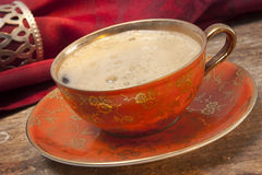 Cup of coffee on old wood royalty free stock photography