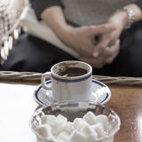Cup of coffee on old wood table Stock Image