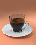 Cup of coffee orange backgorund Stock Image