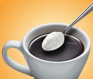 Cup of coffee. A cup of coffee orange background Stock Photography