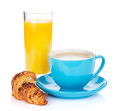 Cup of coffee, orange juice and fresh croissant Royalty Free Stock Photo
