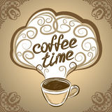 Cup of coffee with ornaments elements. Vector Illustration. Royalty Free Stock Images