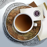 Cup of coffee with ornaments Stock Photo