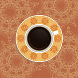 Cup of coffee with ornate eastern elements. Cup of coffee with ornate eastern round elements. Top view stock illustration