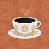 Cup of coffee with ornate eastern round elements.  stock illustration