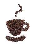 Cup of coffee out of roasted coffee beans Royalty Free Stock Image