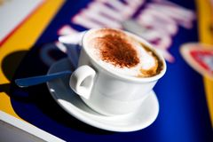 Cup coffee outdoors. Close up picture of cup coffee outdoors Royalty Free Stock Photos