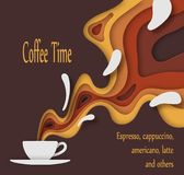 A cup of coffee with outgoing waves with a pleasant aroma, in the form of a voluminous paper image with a shadow. stock illustration