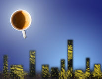 Cup of coffee over a city