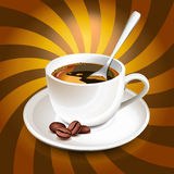 Cup of coffee over rays. Cup of coffee over brown rays vector illustration