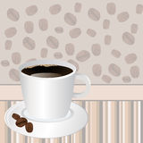 Cup of coffee over striped background Royalty Free Stock Images