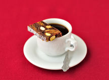 A Cup of Coffee with Panforte Royalty Free Stock Photos