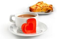 Cup of coffee and paper heart Stock Photo