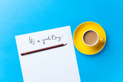 Cup of coffee and paper with inscription Royalty Free Stock Photo