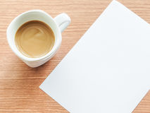 Cup of coffee with paper note Stock Photo