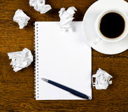 Cup of coffee, paper and pen Royalty Free Stock Photography