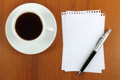 Cup of coffee, paper and pen Stock Photo