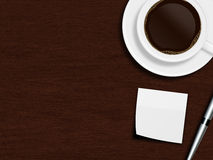 Cup of coffee, paper sheet and pen lying on wooden desk Stock Image