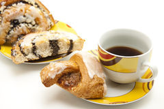 Cup coffee with pastry Stock Photos
