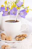 A cup of coffee with pastry Royalty Free Stock Photo