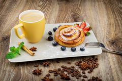 Cup of coffee and pastry Royalty Free Stock Photography