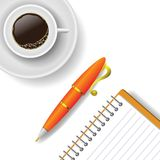 Cup of coffee and pen Royalty Free Stock Photography