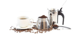 Cup of coffee, percolator and coffee beans Royalty Free Stock Image