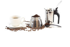 Cup of coffee, percolator and coffee beans Royalty Free Stock Images