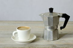 Cup of coffee and percolator Royalty Free Stock Photo