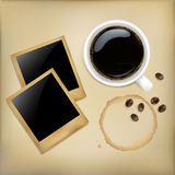 Cup Of Coffee With Photos. Vector Stock Image