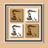 Cup of Coffee 2. Picture with cups of coffee and coffee beans in the squares Stock Photos