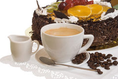 The cup of coffee and pie Stock Photography