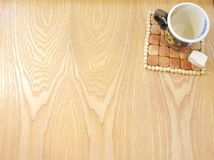 Cup of coffee and a piece of sugar Royalty Free Stock Images