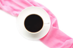 Cup of coffee with pink napkin Royalty Free Stock Images