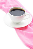 Cup of coffee with pink napkin Royalty Free Stock Photos