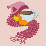 Cup of coffee and pink scarf. With autumn leaves Stock Image