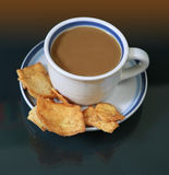 A cup of coffee with pita bread Stock Photo