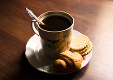 Cup of coffee on a plate in soviet style Royalty Free Stock Photo
