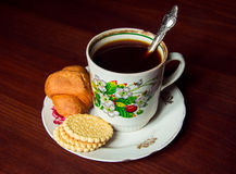 Cup of coffee on a plate in soviet style Royalty Free Stock Photography