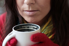 Cup of coffee please. Woman with Cup of hot Coffee Stock Images