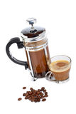 Cup and coffee pot with beans Royalty Free Stock Image